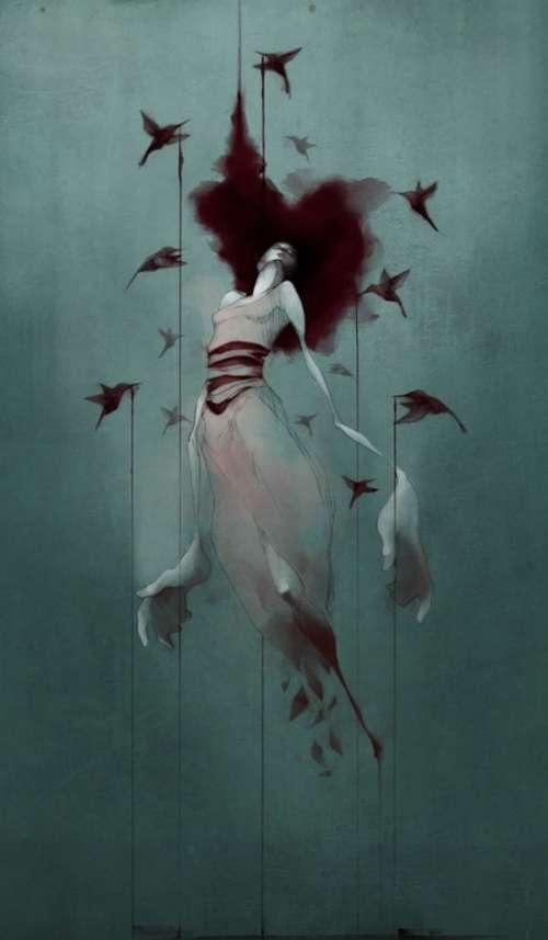 малюнок дівчини та птахів