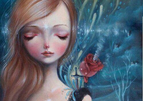 дівчинка з квіткою