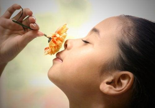 дівчинка нюхає квітку