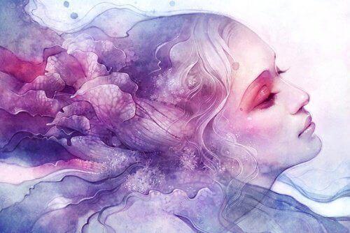 жінка у хмарах
