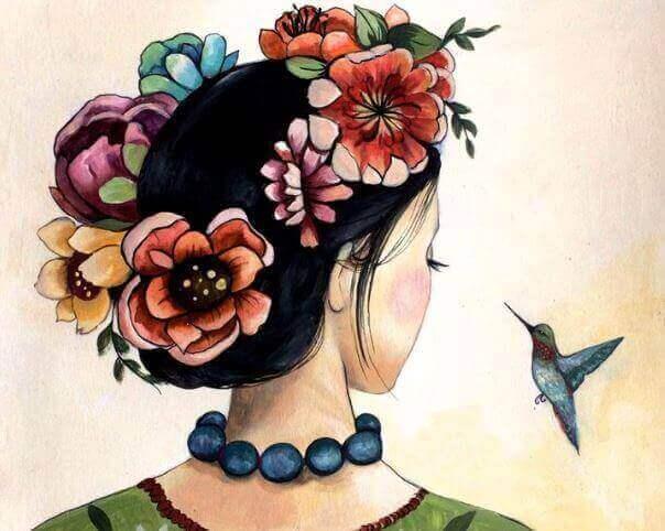 дівчина у вінку та синя пташка