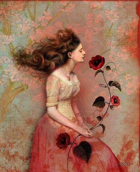 дівчина із квіткою