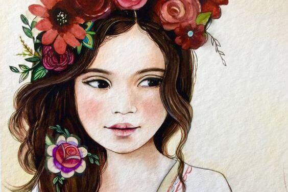 дівчина з квітами в волосі