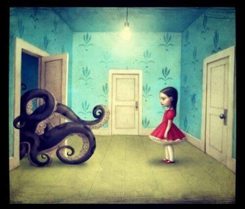 малюнок дівчини та восьминога