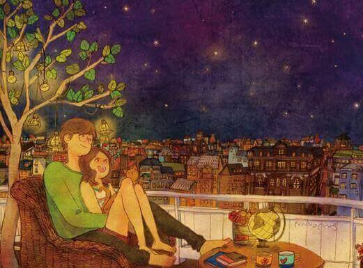 пара дивиться на зорі