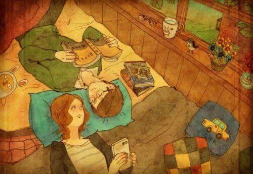 пара дивиться один на одного в ліжку