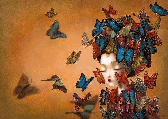 дівчина та метелики