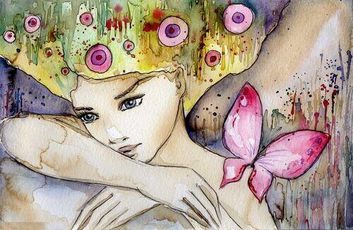 жінка метелик