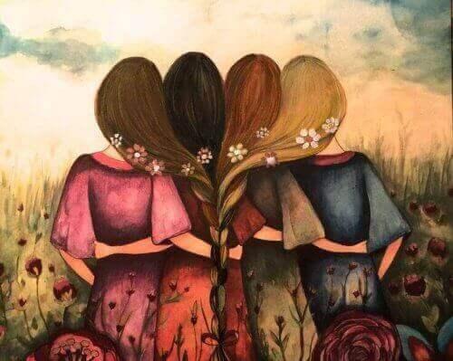 чотири дівчини зі сплетеними косами