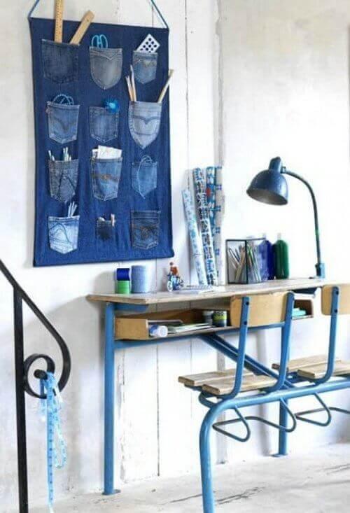 настінний джинсовий органайзер