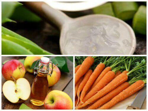 засіб від варикозу вен з моркви, алое вера та яблучного оцту