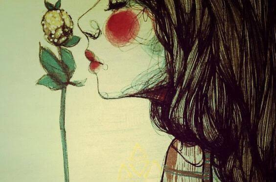 жінка з квіткою