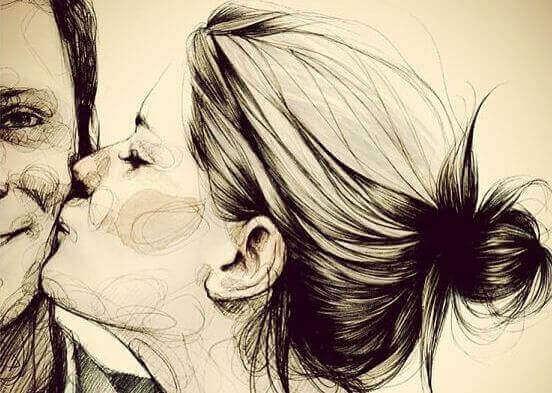 дівчина цілує чоловіка