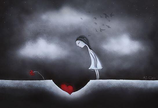 дівчина стоїть над серцем
