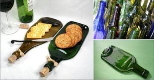 Блюдо для закусок зі старої скляної пляшки