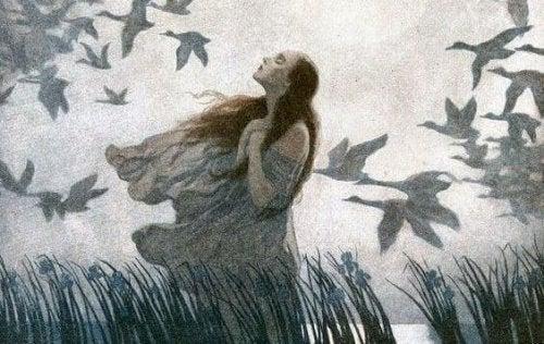 дівчина та птахи