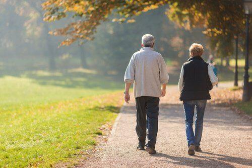 прогулянка двох літніх людей в парку