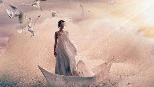 жінка у човні