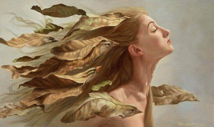 малюнок дівчини з пташками у волоссі