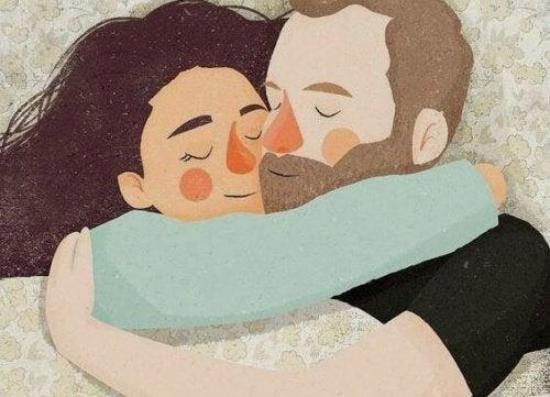 малюнок обійми пари