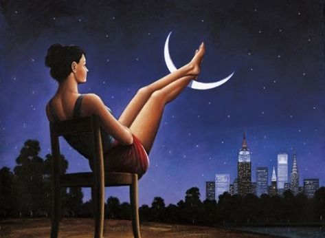 малюнок жінка закинула ноги на місяць