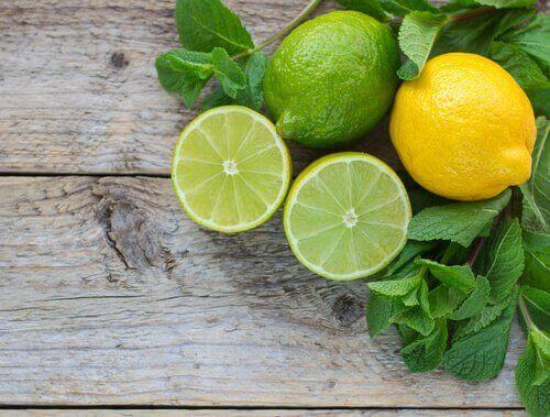 лайм, лимон, м'ята