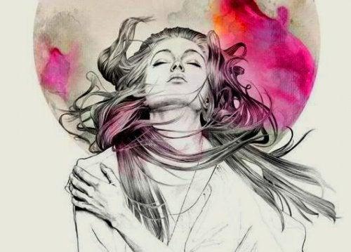 намальомана дівчина з замкнутими очами