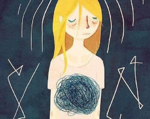 намальована сумна дівчина думає