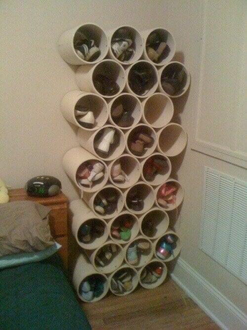ПВХ труби, як органайзери для взуття