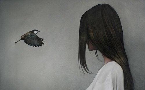 дівчина та птаха
