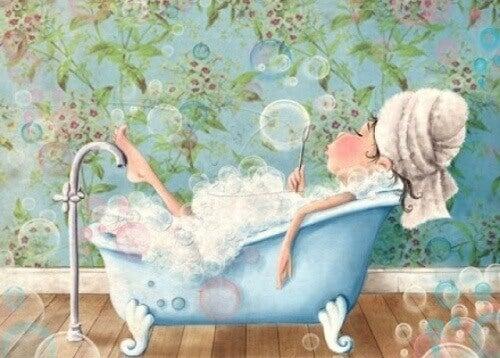 малюнок дівчина приймає ванну