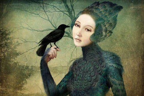 чорна пташка і жінка