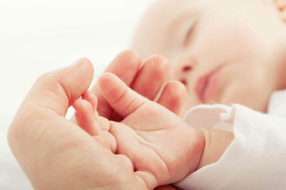 людина тримає малюка за руку
