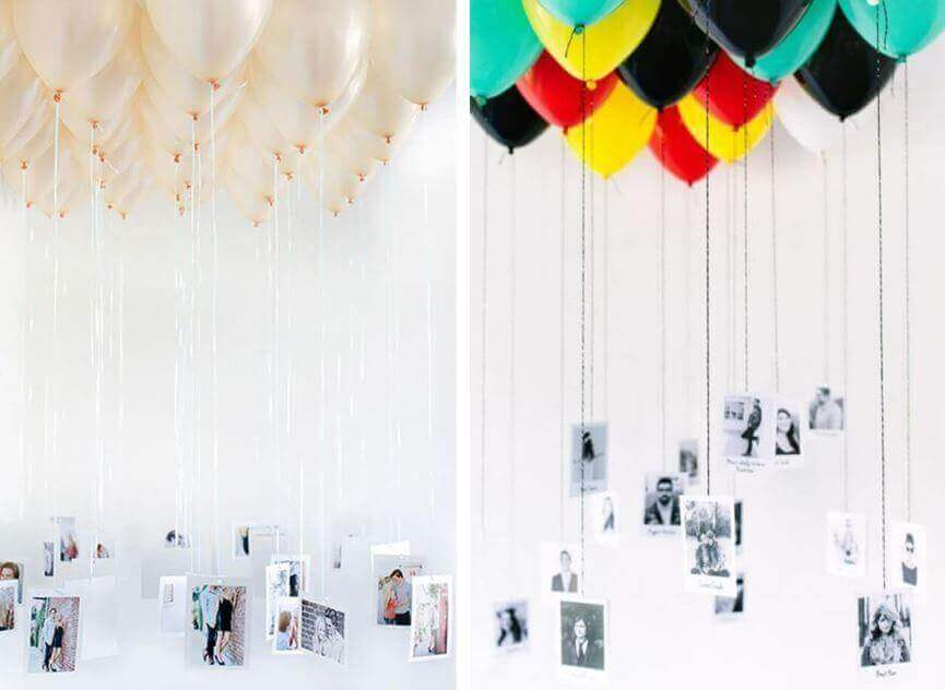украсить воздушными шарами с фотографиями