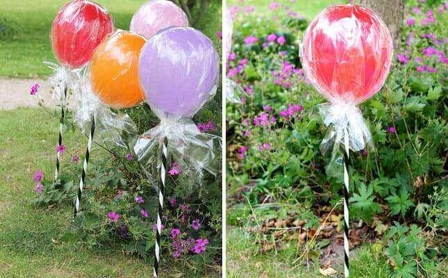 украсить воздушными шарами в форме леденцов