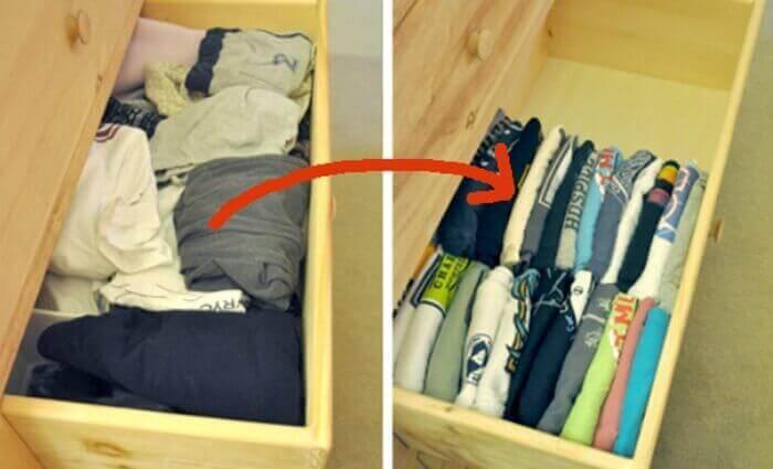 складати одяг вертикально