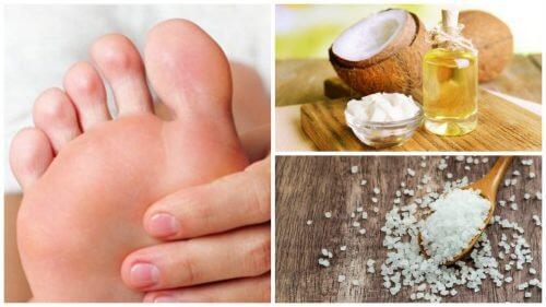 Скраб для ніг з кокосовою олією та сіллю