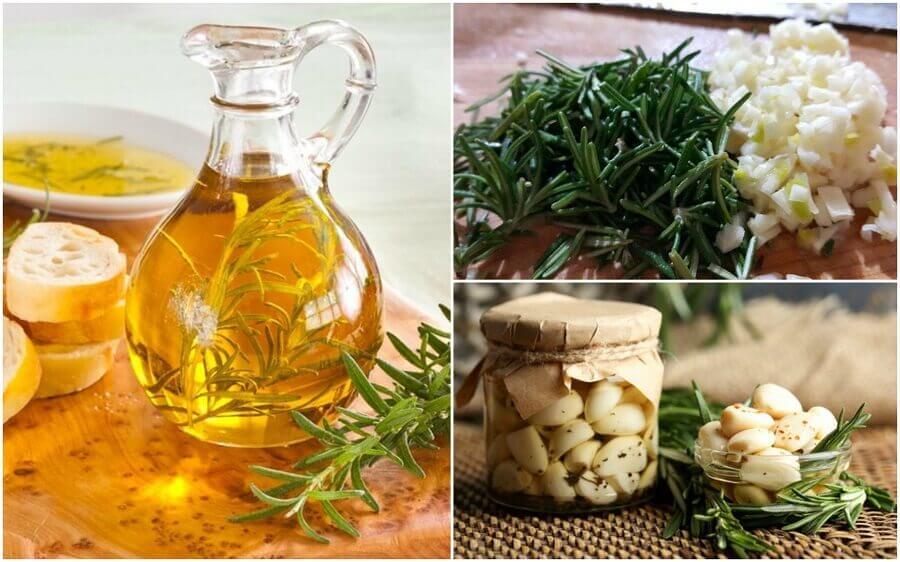 Як приготувати олію, настояну на розмарині та часнику