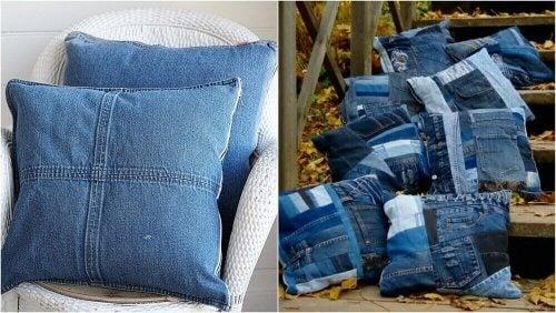 подушки із джинсової тканини